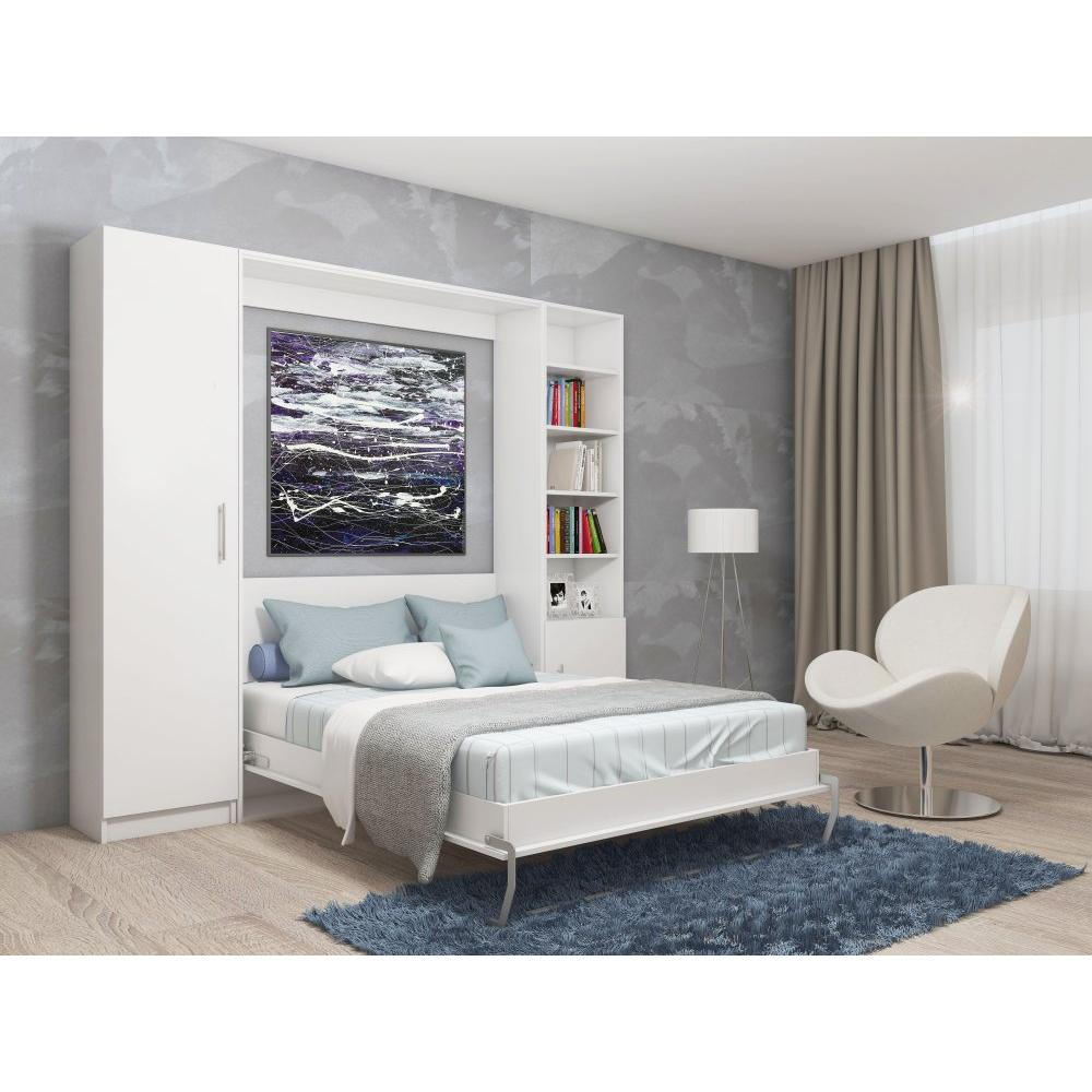 Composition armoire lit escamotable SMART-V2 blanc mat Couchage 140cm  2 colonnes rangements