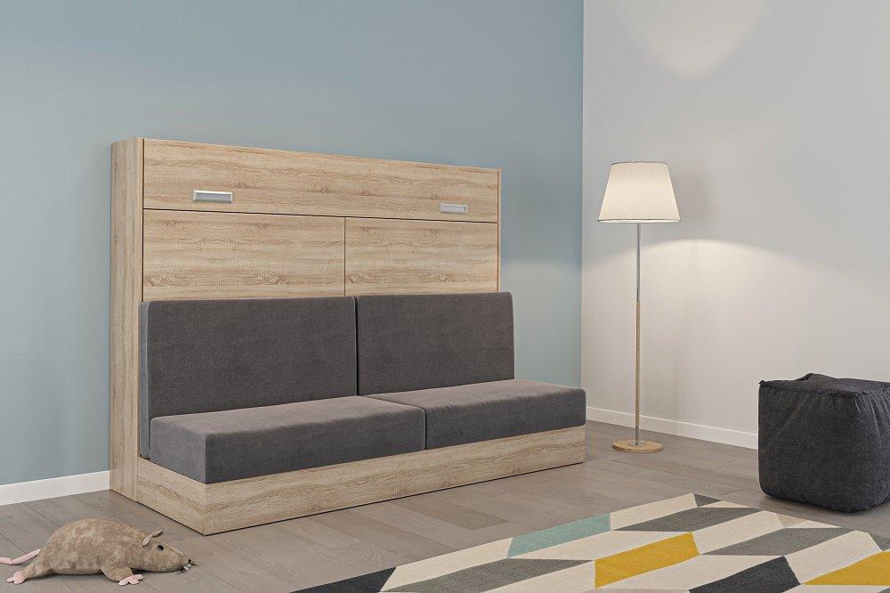 Armoire lit escamotable VERTIGO SOFA chêne canapé gris couchage 140*200 cm