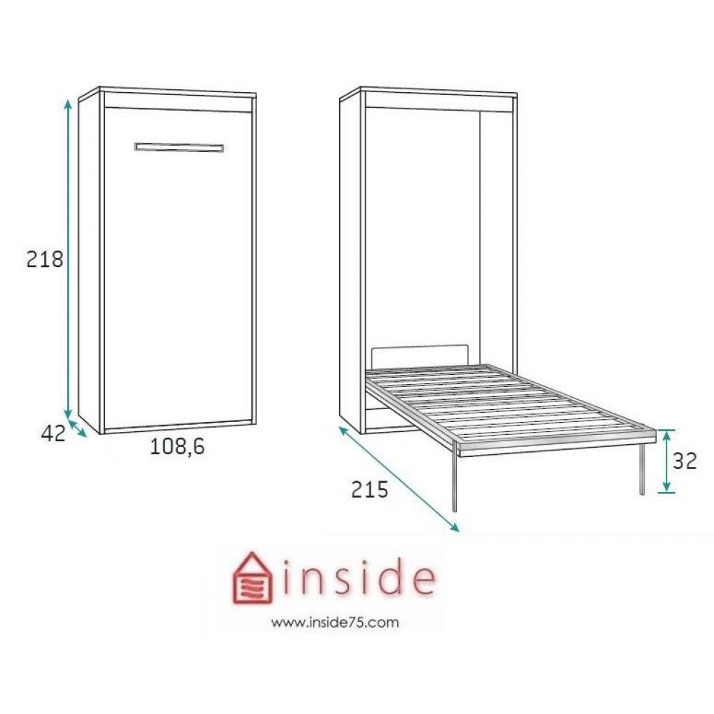 Armoire lit verticale AGATA couchage 90*190cm