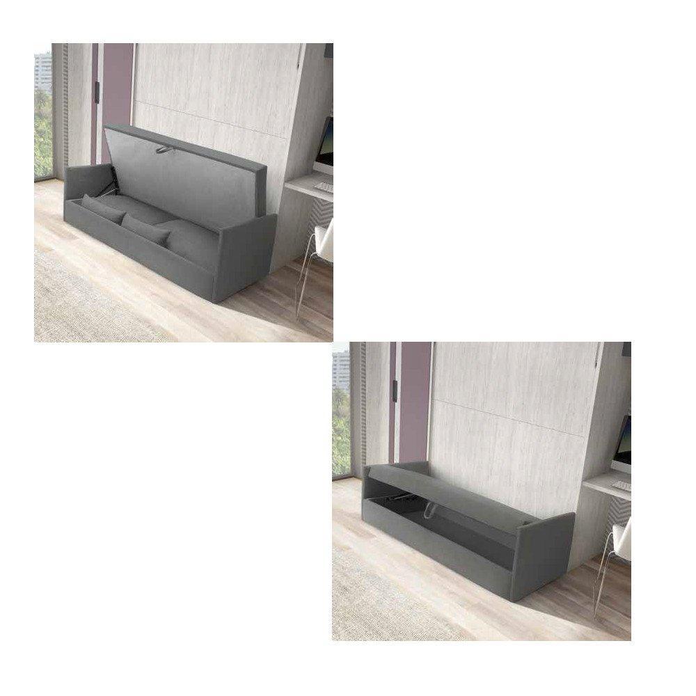 Armoire lit escamotable BONITA profondeur 56 cm couchage 160*190 cm avec canapé intégré
