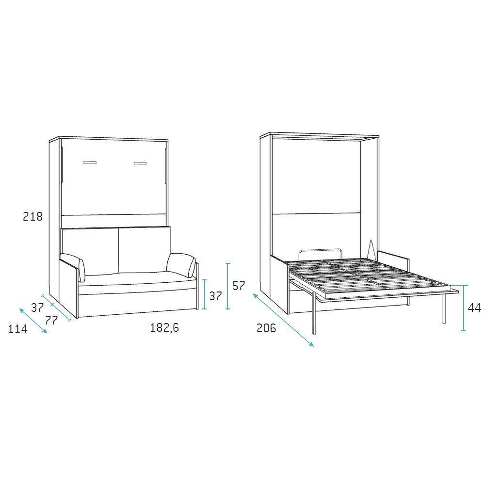 Armoire lit verticale BONITA profondeur 37 cm couchage 160*190 cm canapé intégré