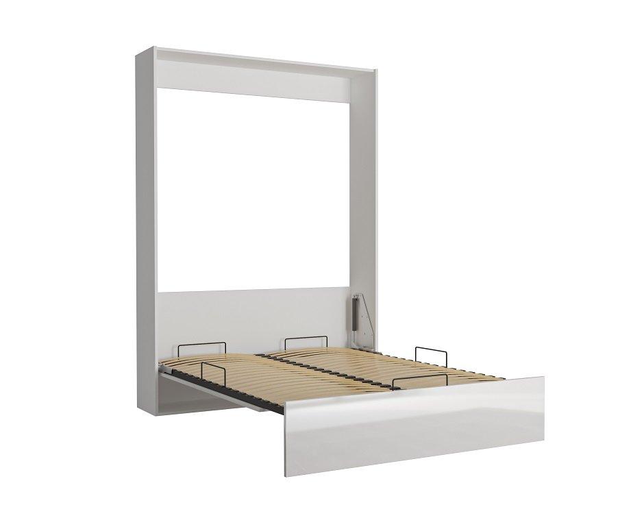 Armoire lit escamotable DYNAMO structure blanche façade blanc brillant 140*200 cm