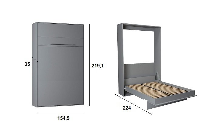 Armoire lit escamotable KOMPACT Ouverture assistée, coloris gris couchage 140*200 cm.