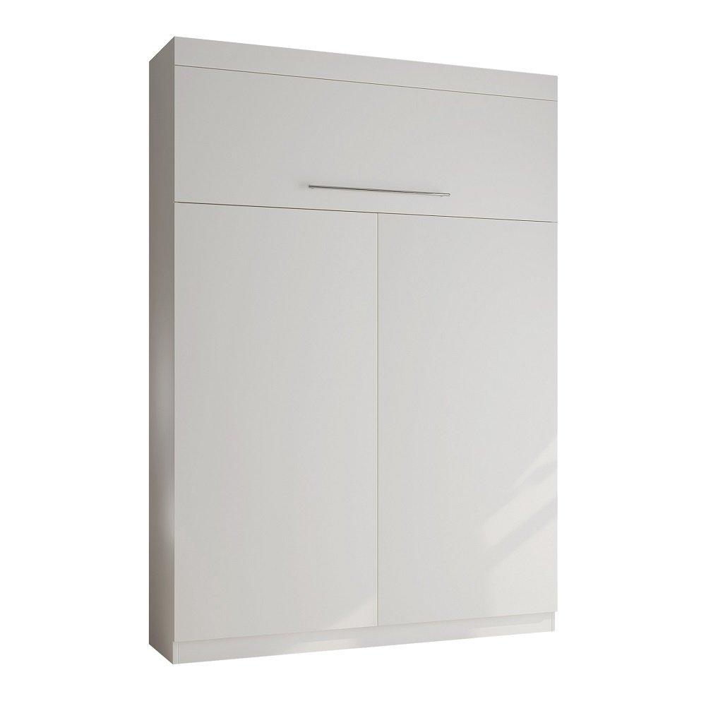 Lit escamotable LUTECIA Couchage 140 x 190 cm profondeur 50 cm blanc mat