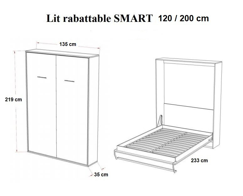 Armoire lit escamotable SMART-V2 blanc mat couchage 120*200 cm.