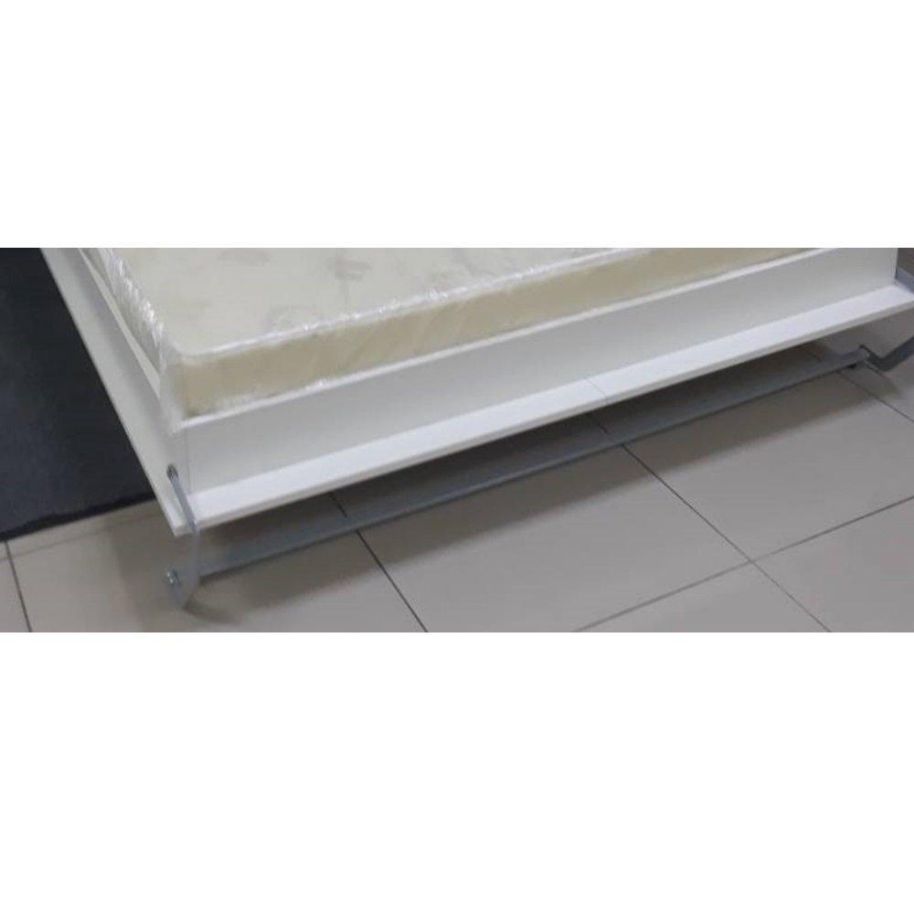 Armoire lit escamotable SMART-V2 structure gris graphite mat, façade Gloss blanc brillant 140*200 cm