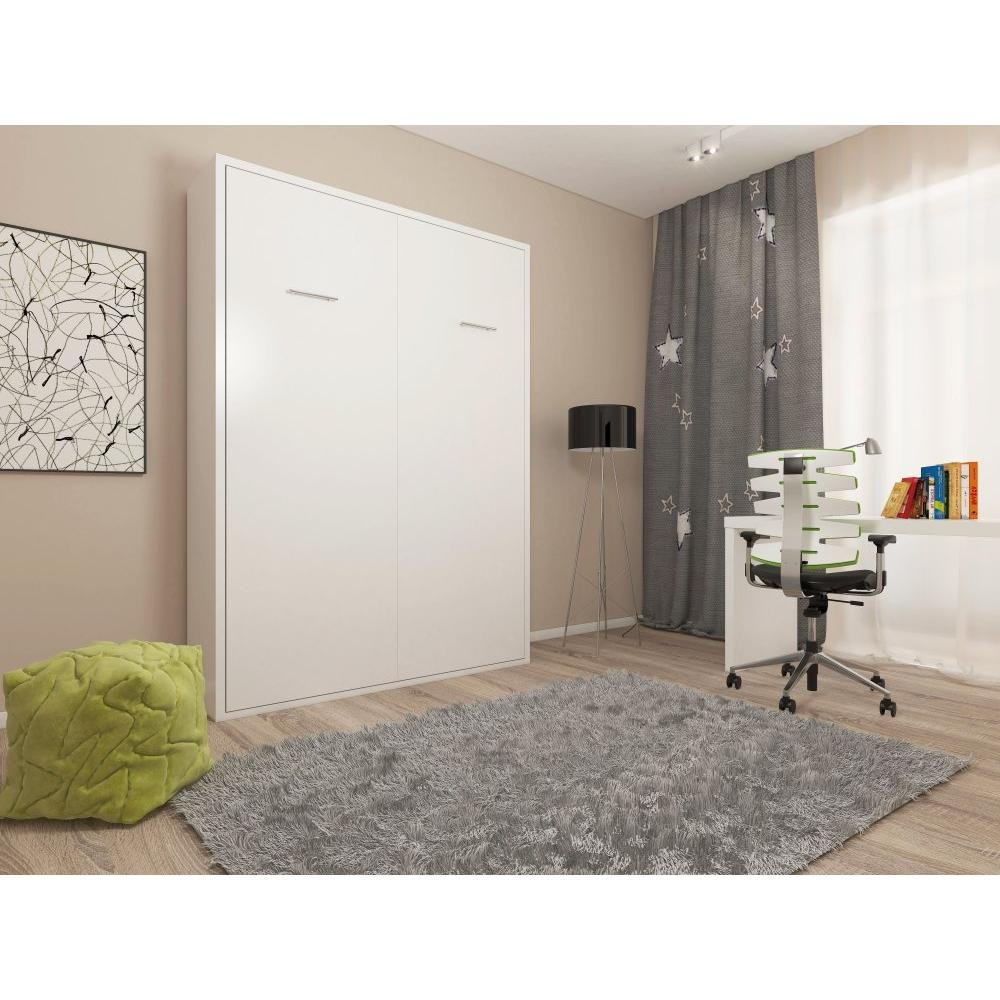 Armoire lit escamotable SMART-V2 blanc mat couchage 140*200 cm.