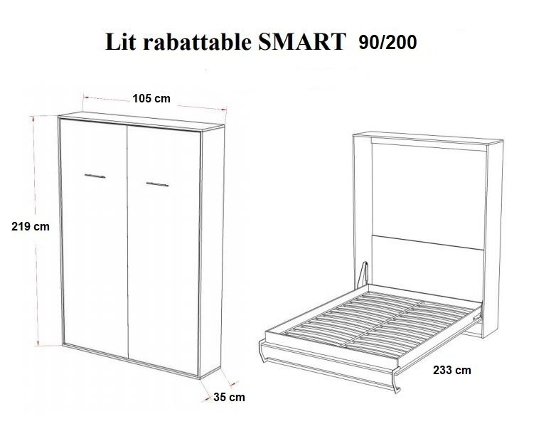 Armoire lit escamotable SMART-V2 blanc mat couchage 90 x 200 cm.
