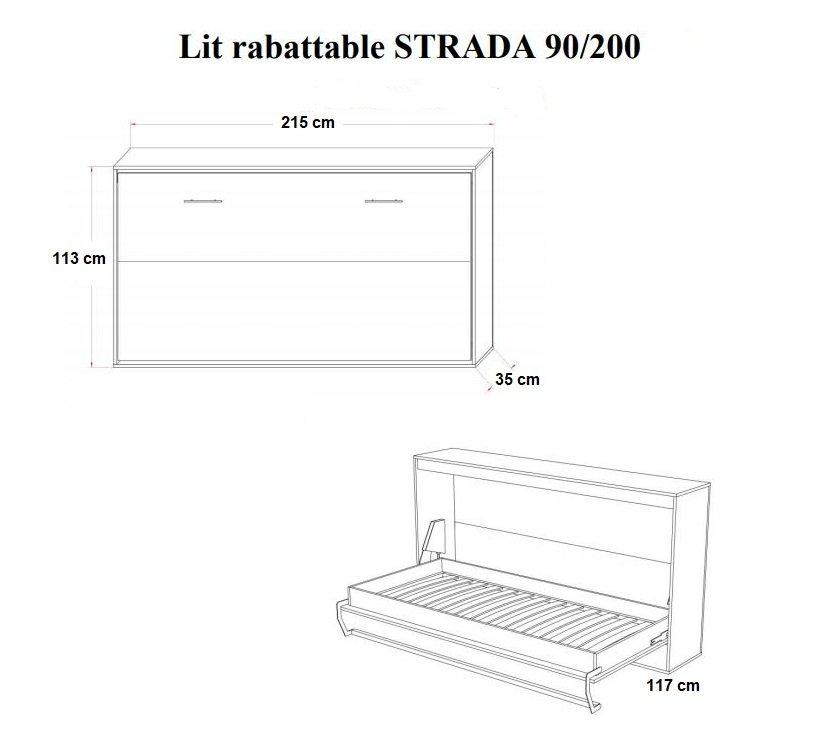 Armoire lit horizontale escamotable STRADA-V2 chêne couchage 90*200 cm.