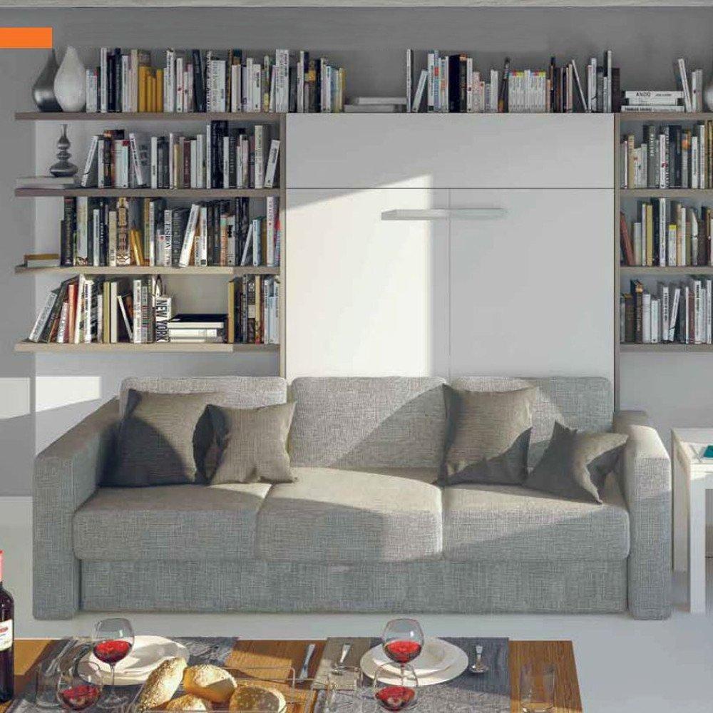 Armoire lit à ouverture assistée TRACCIA 140 blanc mat canapé intégré accoudoirs larges et chauffeuse gauche tweed