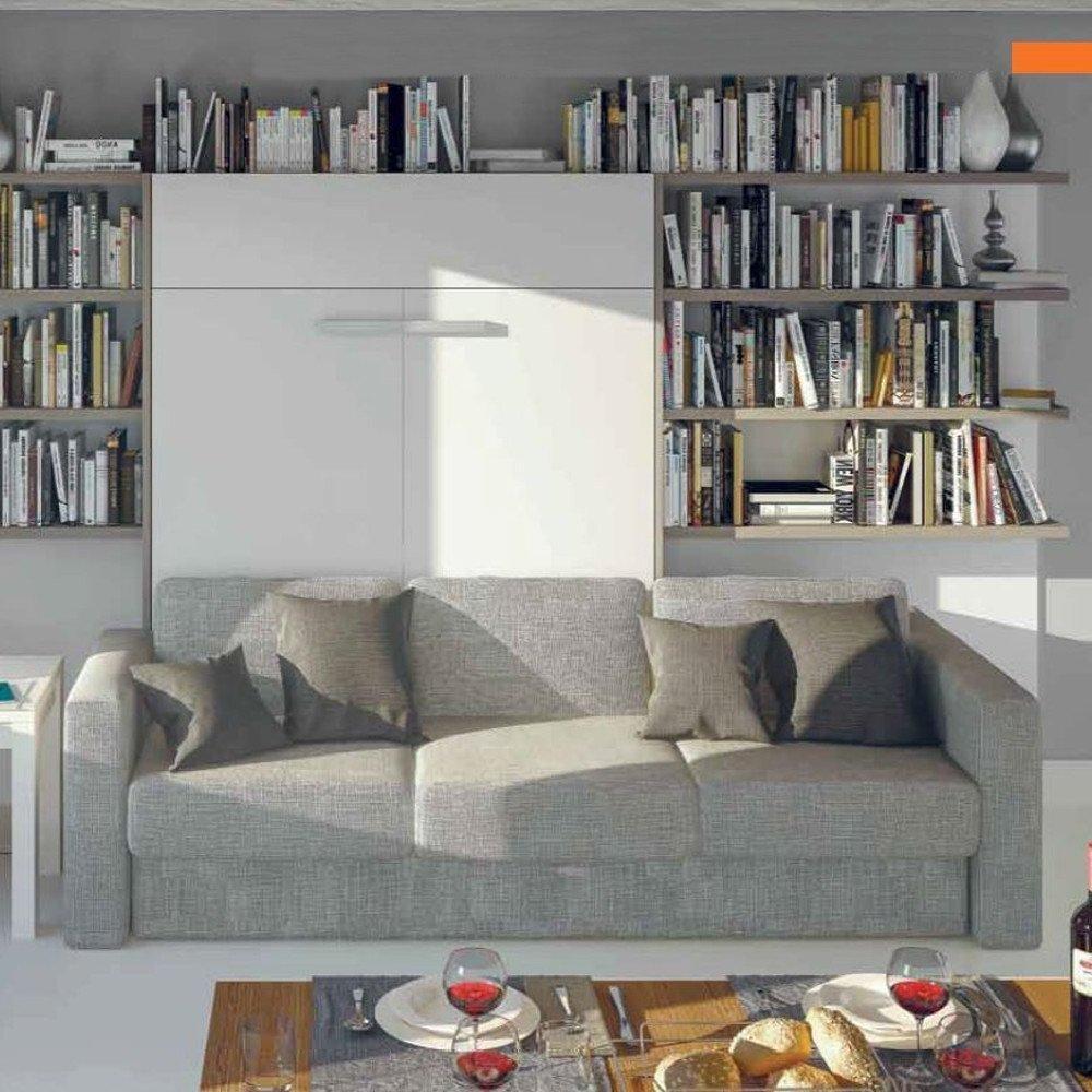 Armoire lit à ouverture assistée TRACCIA 140 blanc mat canapé intégré accoudoirs larges et chauffeuse droite tweed