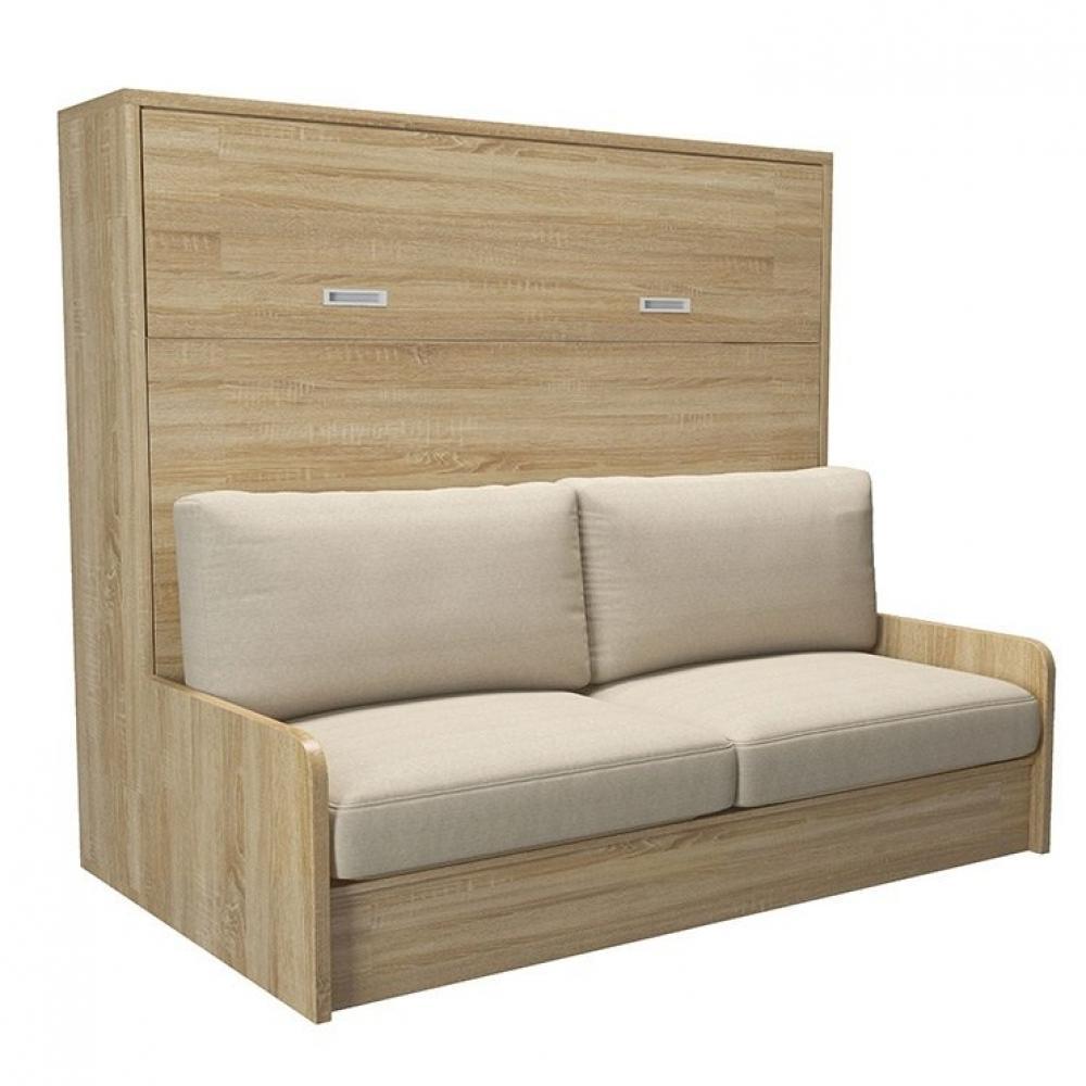 Armoire lit transversale SEYCHELLES avec canapé intégré Couchage 140cm
