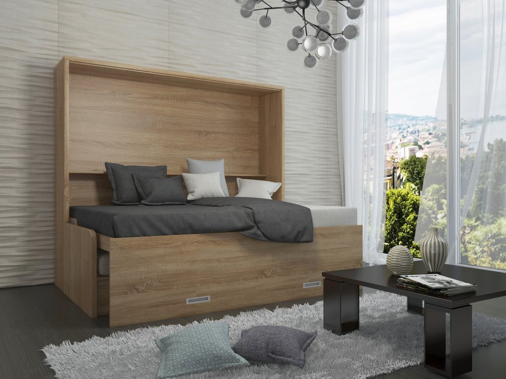 Armoire lit transversale BORA SOFA avec canapé intégré Couchage 140cm