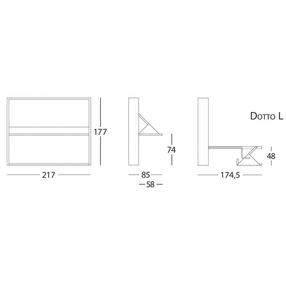 Armoire lit transversale SMILE couchage 160 * 200 cm bibliothèque intégrée
