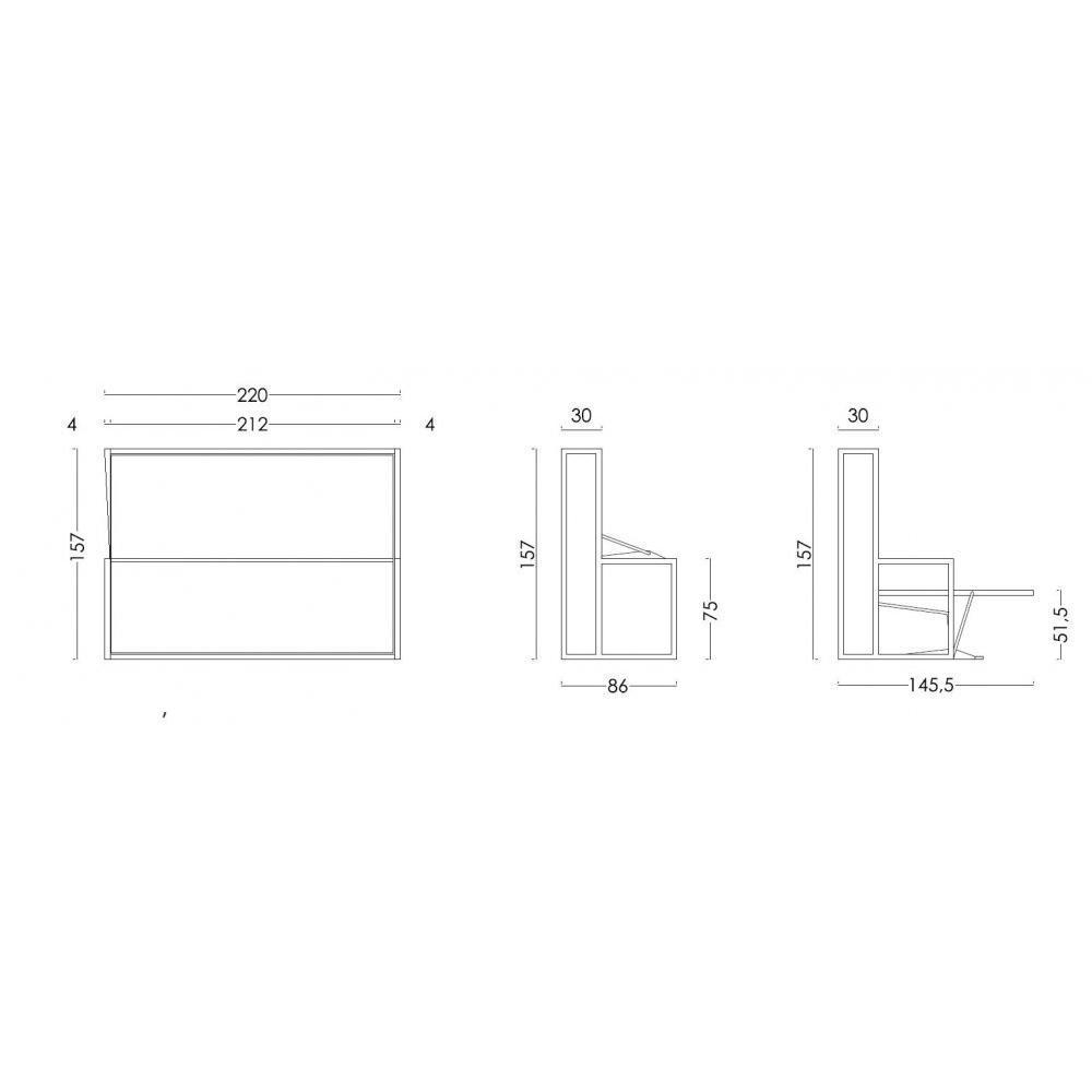 Armoire lit transversale BDESK couchage 140 * 200 cm