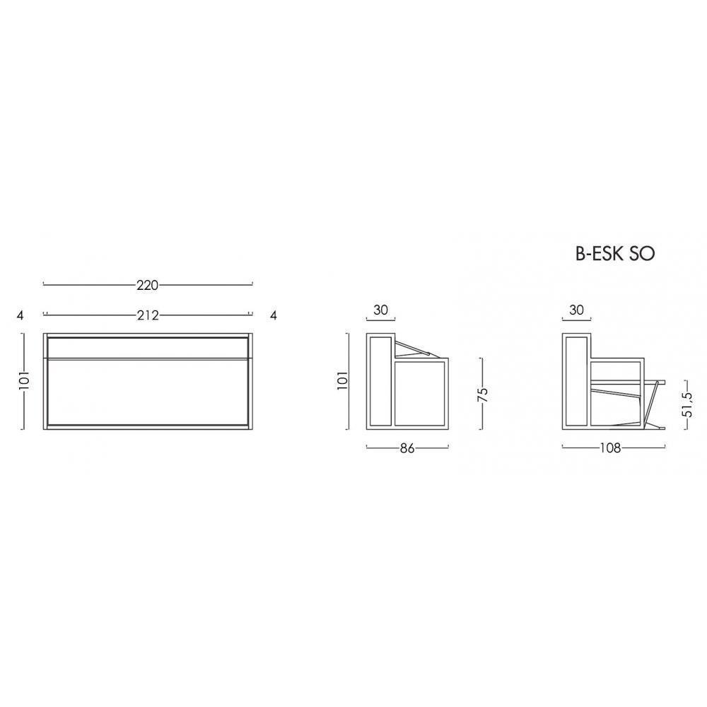 Armoire lit transversale BDESK couchage 90 * 200 cm bureau intégré