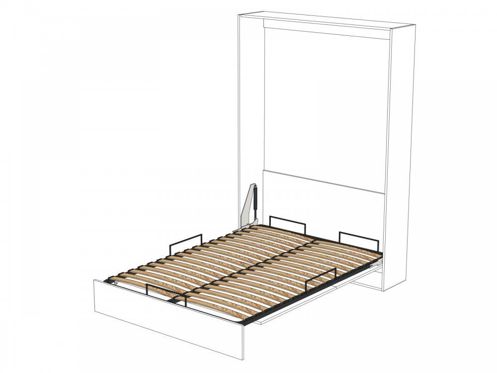 Armoire lit escamotable DYNAMO blanc mat Ouverture assistée et pied automatique, couchage 160*200 cm