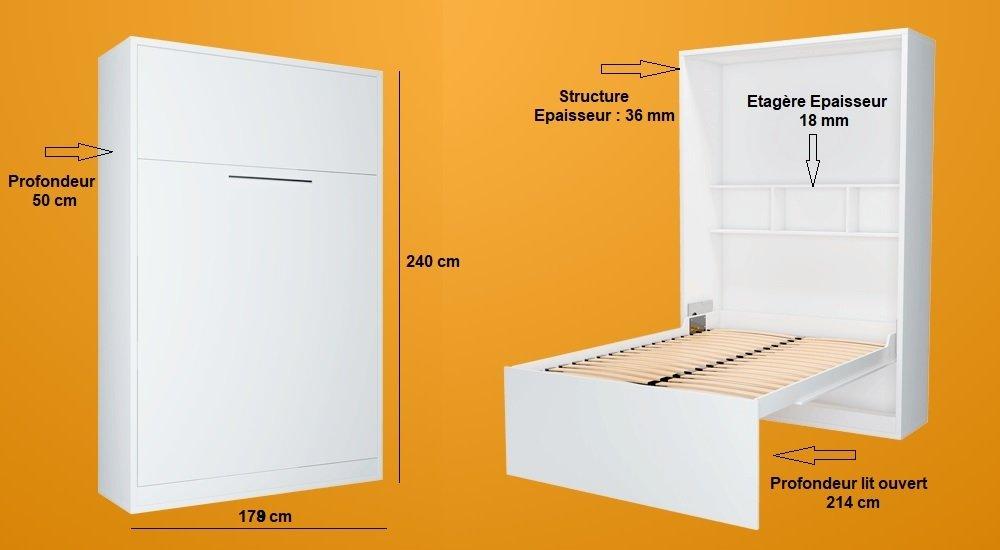 Armoire lit escamotable FIDJI gris couchage 160*200 cm.