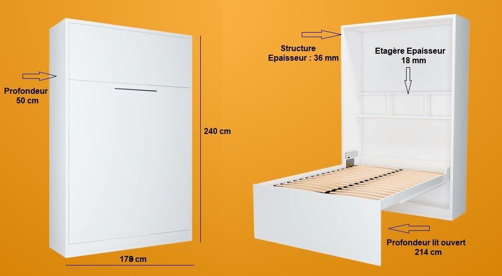 Armoire lit escamotable FIDJI wengué couchage 160*200 cm.