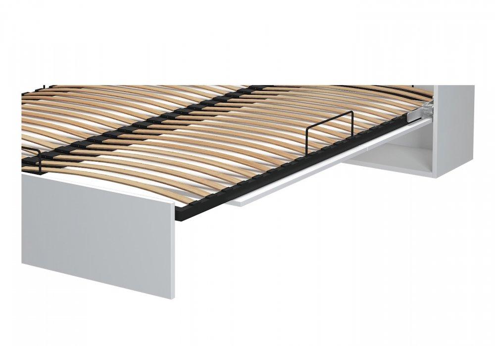 Armoire lit escamotable STUDIO blanc mat Ouverture assistée et pied automatique, couchage 140*200 cm