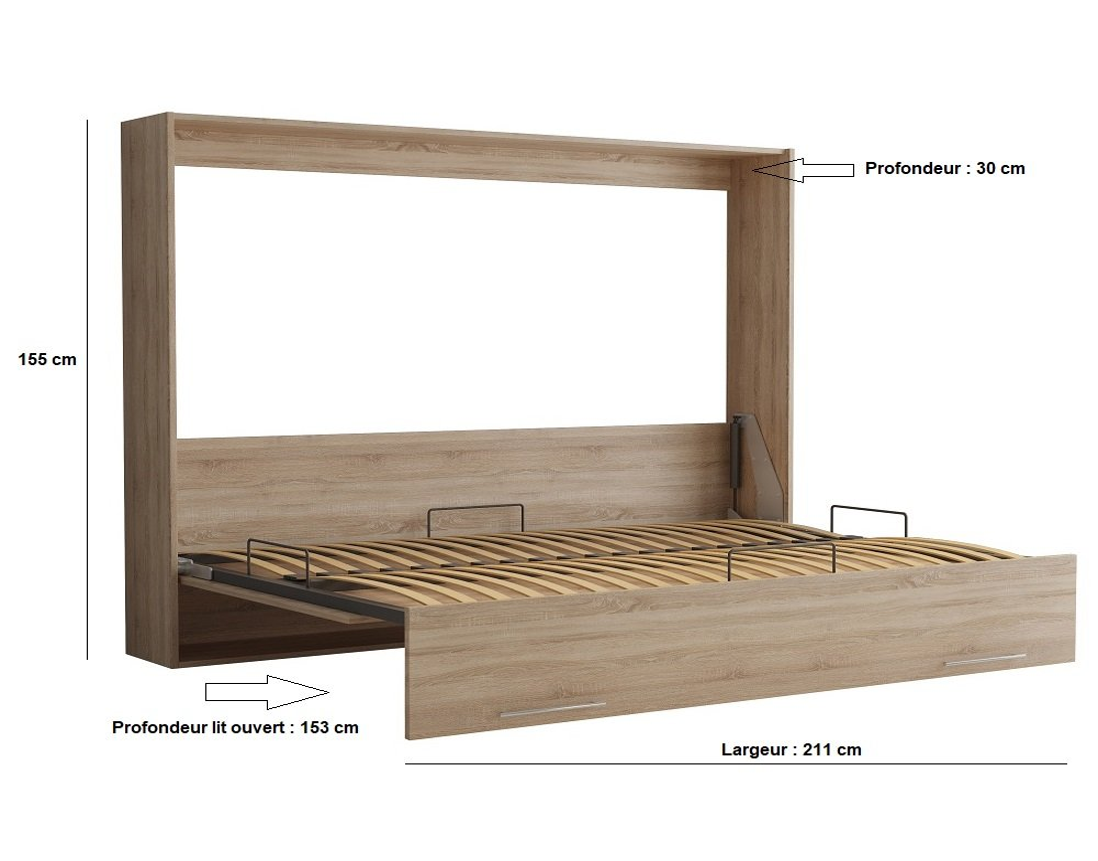Armoire lit escamotable VERTIGO chêne naturel couchage 140*200 cm
