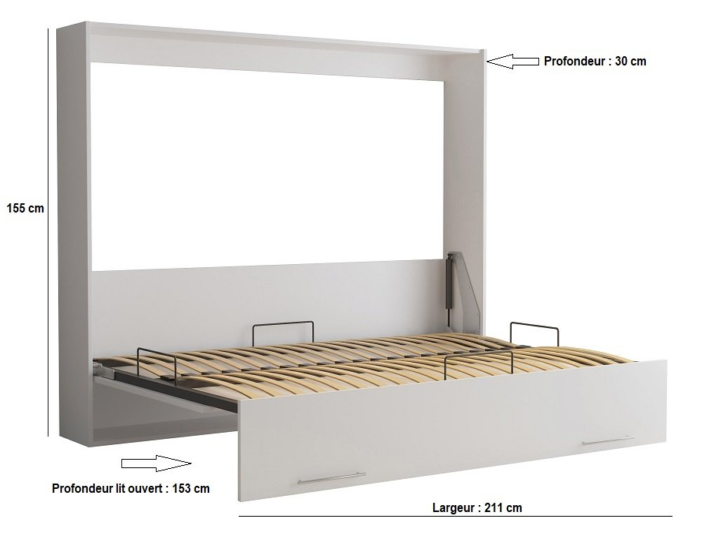 Armoire lit escamotable VERTIGO gris mat couchage 140*200 cm