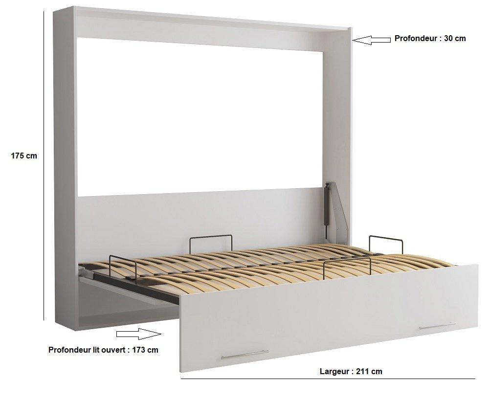 Armoire lit escamotable VERTIGO gris mat couchage 160*200 cm