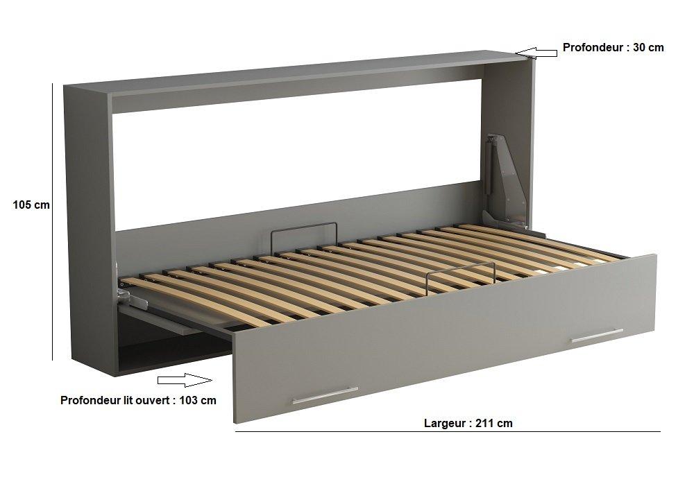 Armoire lit escamotable VERTIGO gris mat couchage 90*200 cm