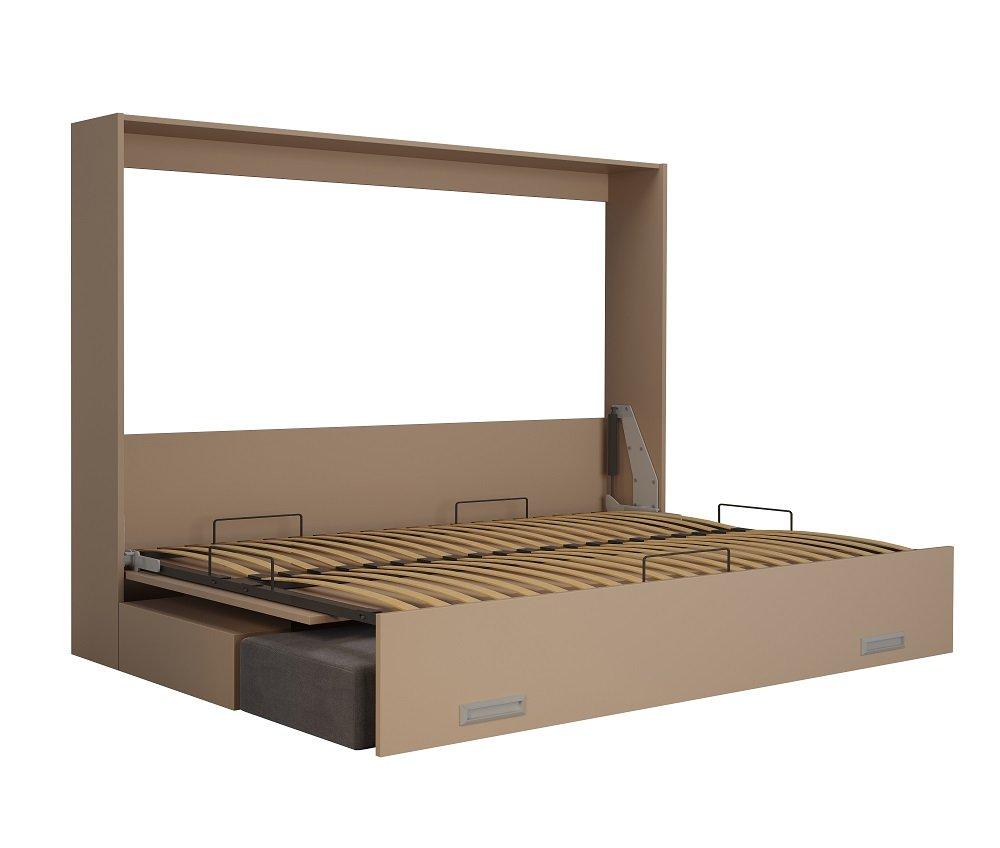 Armoire lit escamotable VERTIGO taupe mat couchage 140*200 cm