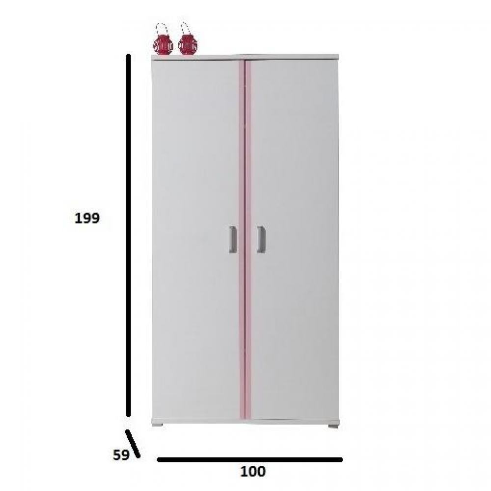 Dressings et armoires meubles et rangements armoire penderie orion 2 portes blanche inside75 - Armoire penderie 2 portes ...