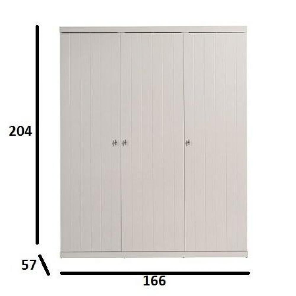 dressings et armoires chambre literie armoire penderie hydrus 3 portes blanche inside75. Black Bedroom Furniture Sets. Home Design Ideas
