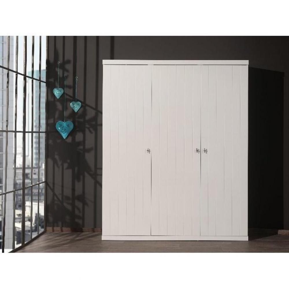dressings et armoires chambre literie armoire penderie hydrus 3 portes blanche inside75. Black Bedroom Furniture Sets. Home Design Ideas