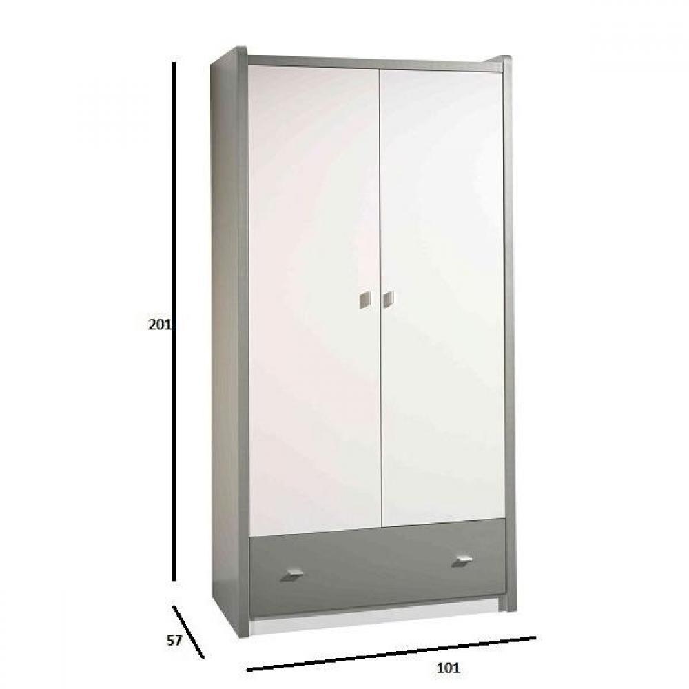 dressings et armoires meubles et rangements armoire dressing kyle blanche avec tiroir gris. Black Bedroom Furniture Sets. Home Design Ideas