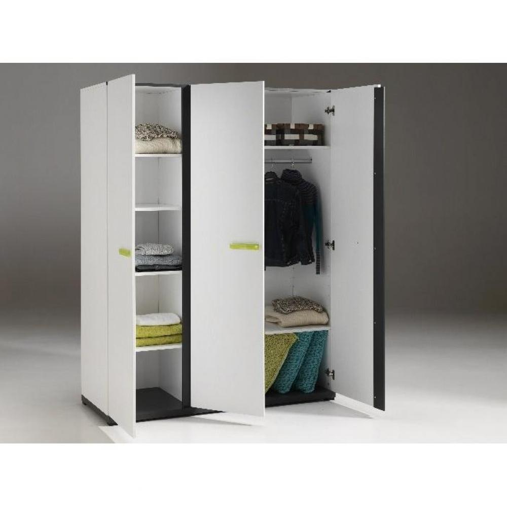dressings et armoires chambre literie armoire penderie volans 3 portes blanche inside75. Black Bedroom Furniture Sets. Home Design Ideas