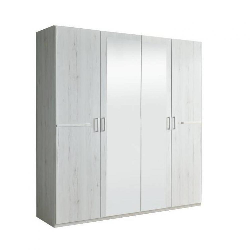 Armoire CARAMELLA 180cm à portes battantes coloris chêne blanc avec 2 miroirs