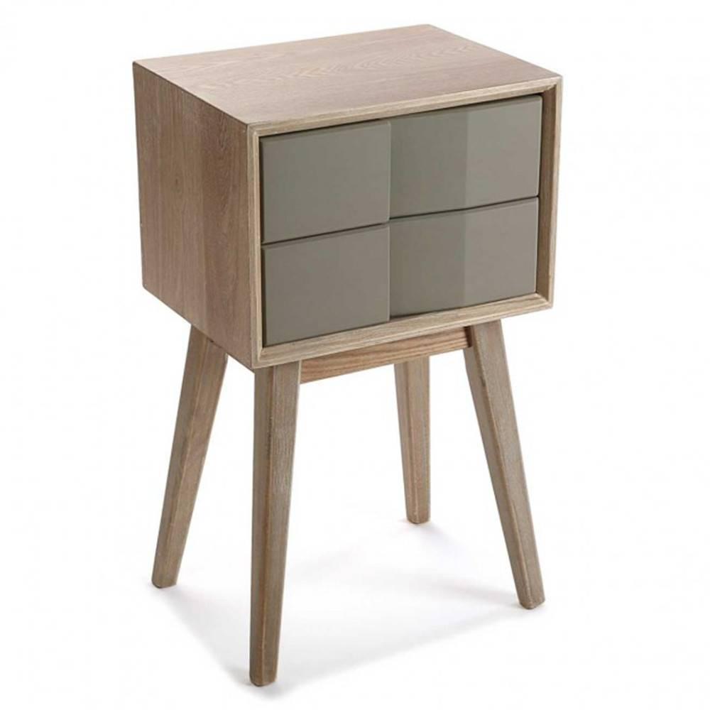 chevets meubles et rangements chevet arvika en bois gris 2 tiroirs laque taupe inside75. Black Bedroom Furniture Sets. Home Design Ideas