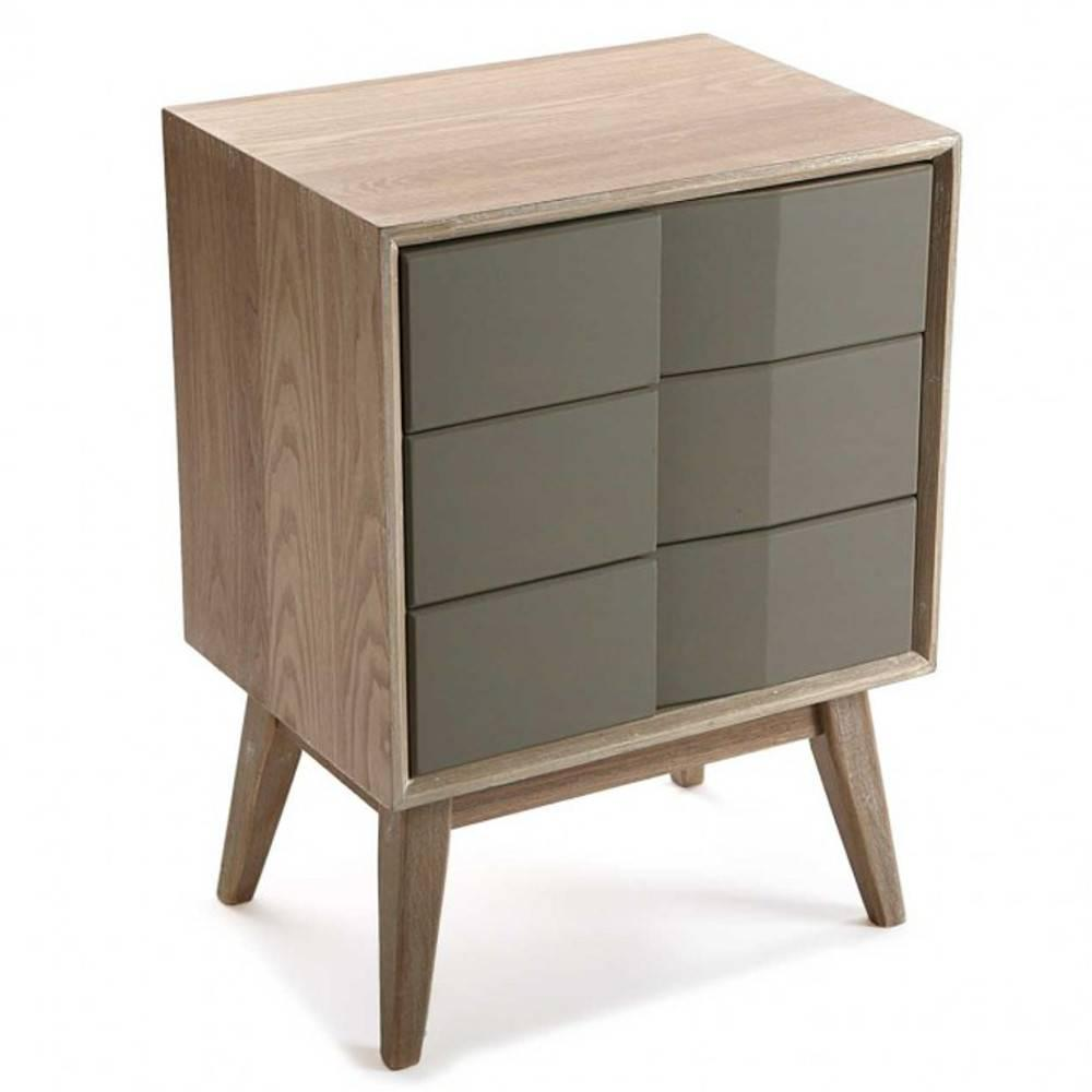 Commode ARVIKA Moderne Bois Et Laque Taupe 3 Tiroirs