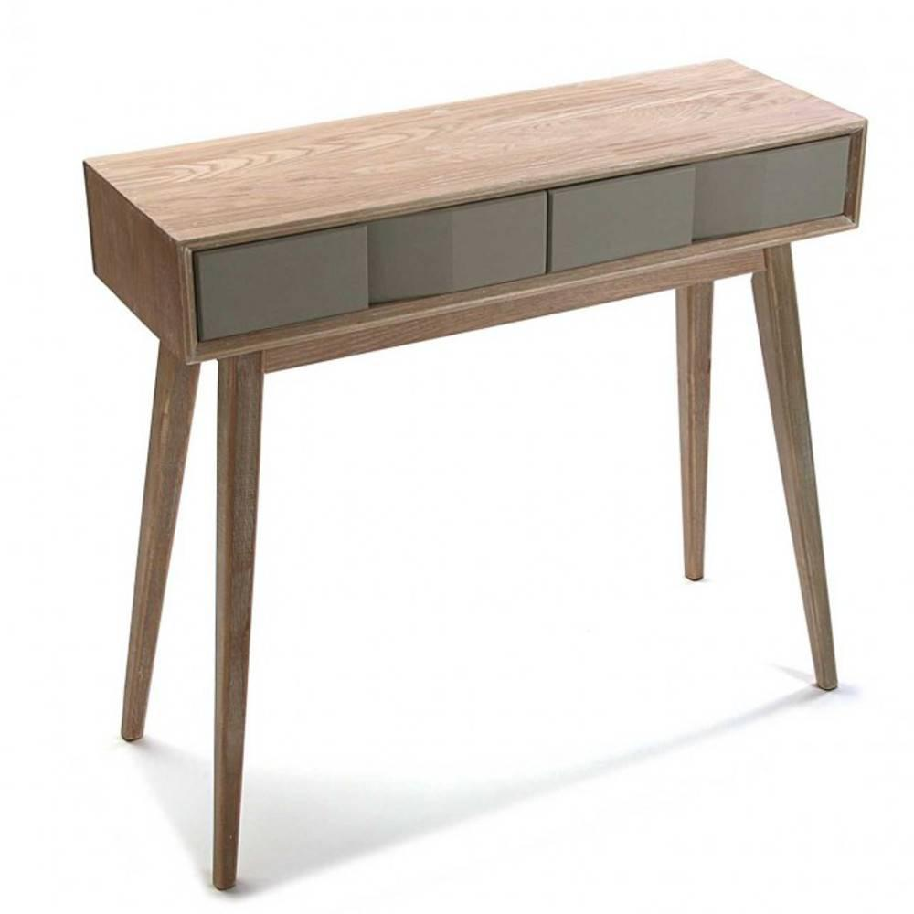 console design ultra tendance au meilleur prix console arvika en bois gris et tiroir laque. Black Bedroom Furniture Sets. Home Design Ideas