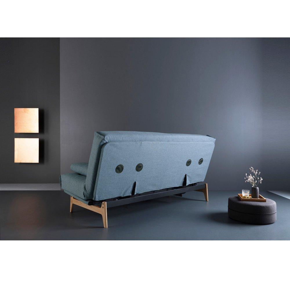 INNOVATION LIVING  Canapé convertible design ASLAK lit 140*200 cm capitonné piétement chêne