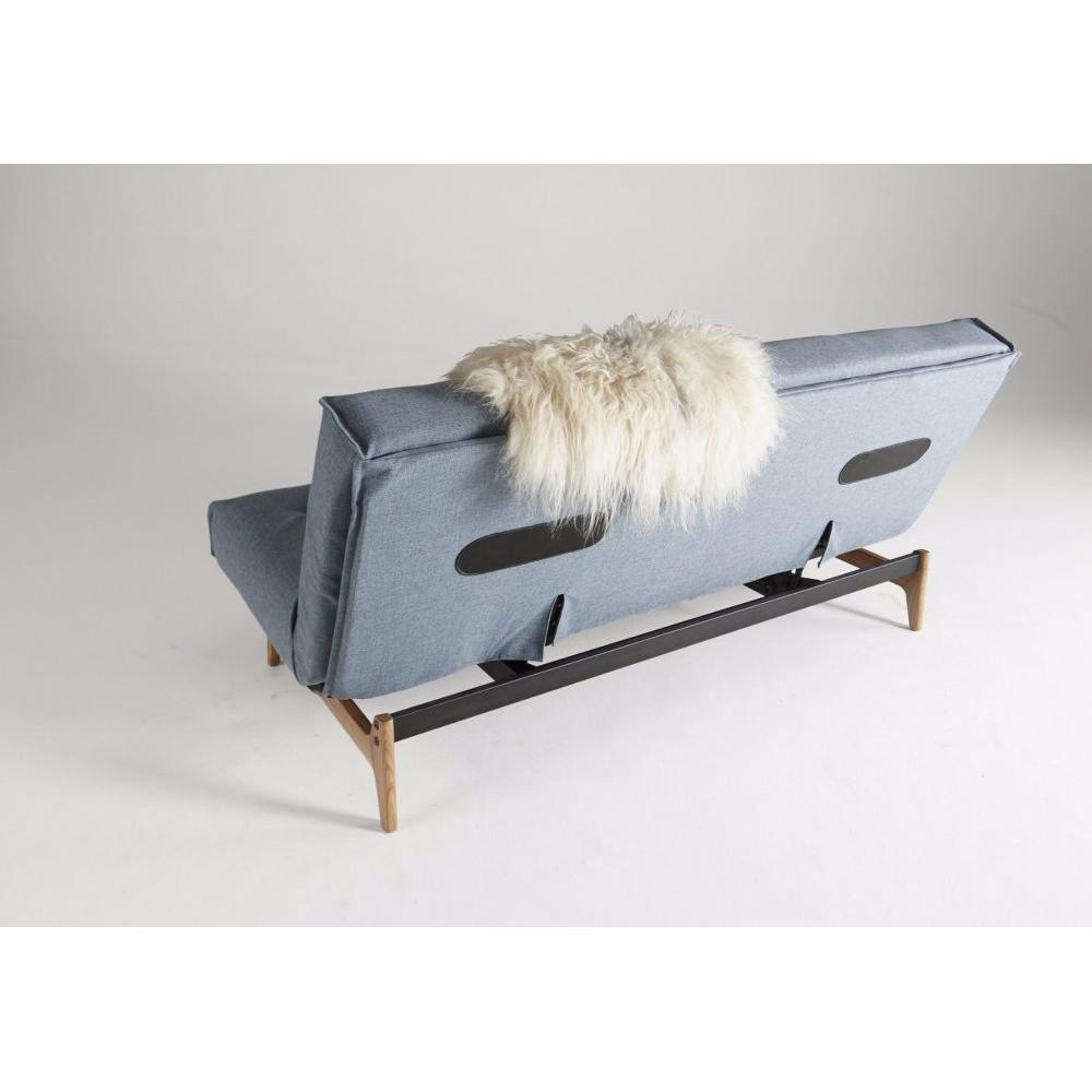 Canapé design ASLAK convertible lit 140*200cm design capitonné piétement noyer