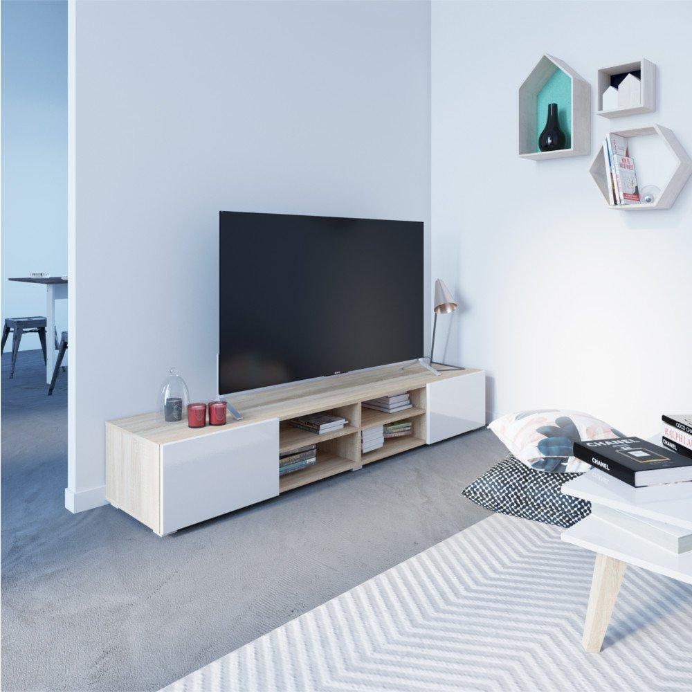 Meubles Tv Meubles Et Rangements Atlantic Meuble Tv Structure  # Meuble Tv Blanc Brillant