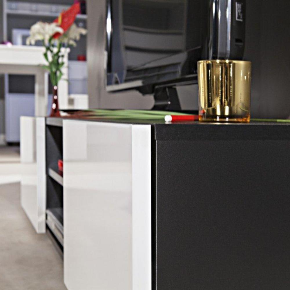 meubles tv meubles et rangements atlantic meuble tv couleur blanc et noir laqu brillant. Black Bedroom Furniture Sets. Home Design Ideas