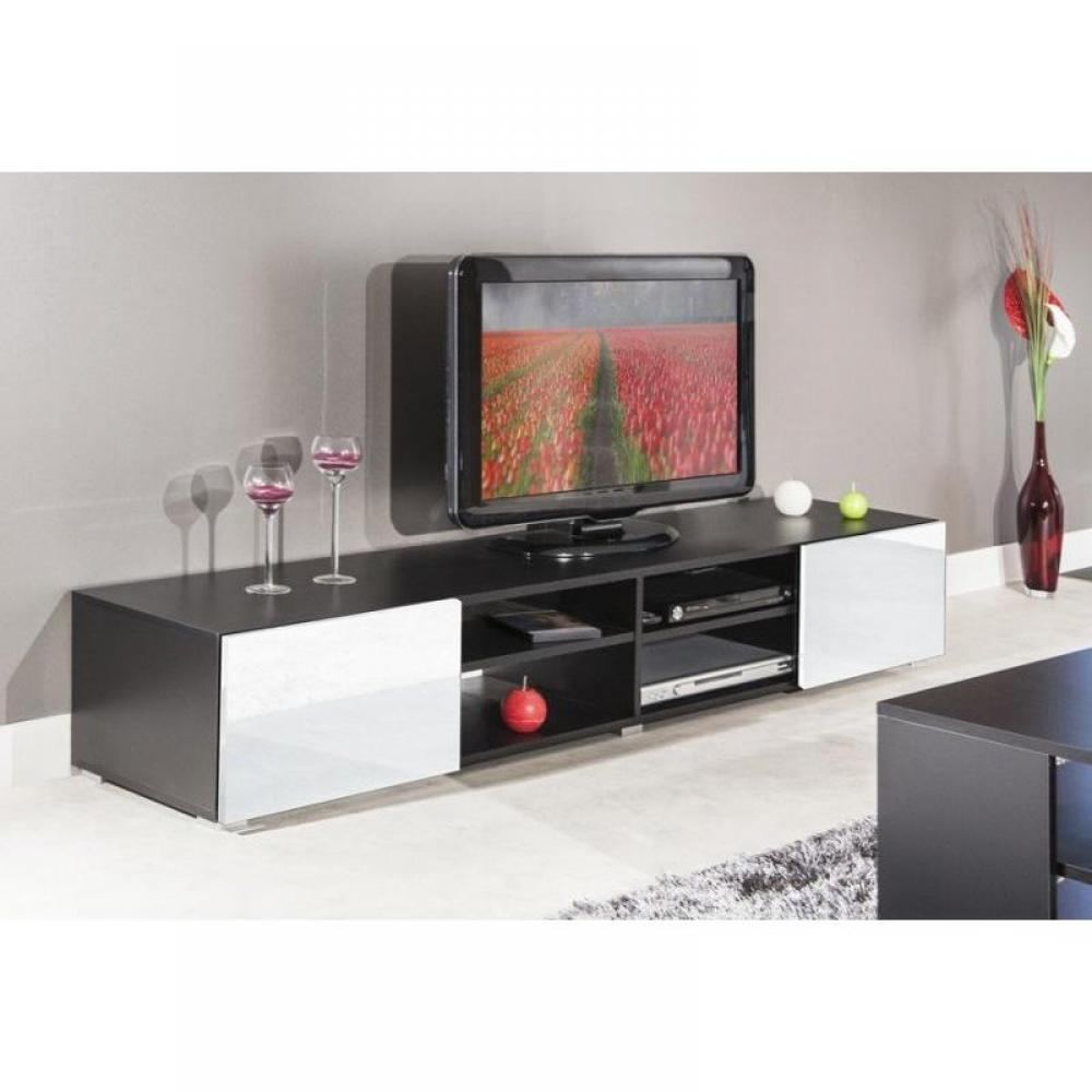 meubles tv meubles et rangements atlantic meuble tv couleur blanc et noir laqu brillant. Black Bedroom Furniture Sets. Home Design Ideas