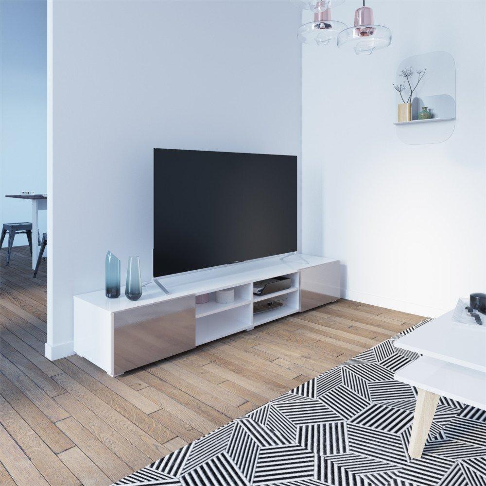 Meubles Tv Meubles Et Rangements Atlantic Meuble Tv Structure  # Meuble Tv Laque Blanc Design