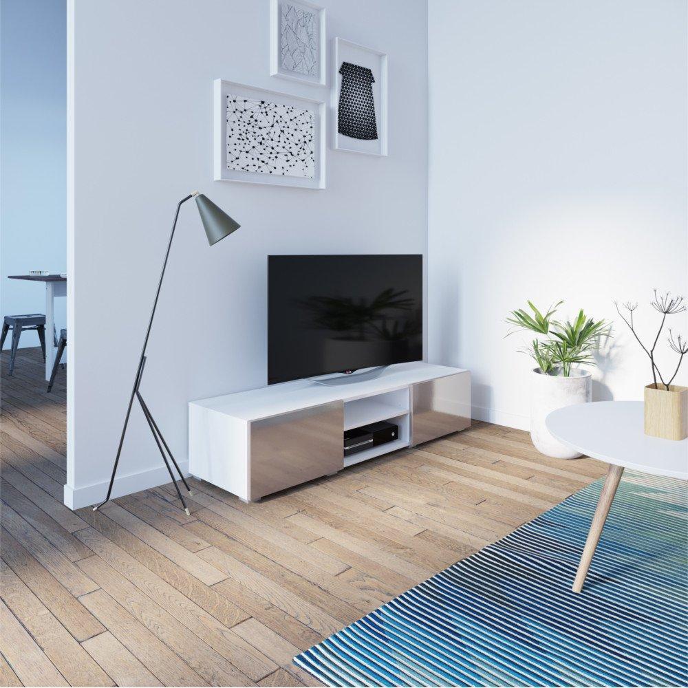 Meubles Tv Meubles Et Rangements Atlantic Meuble Tv Structure  # Meuble Tv Blanc Et Taupe