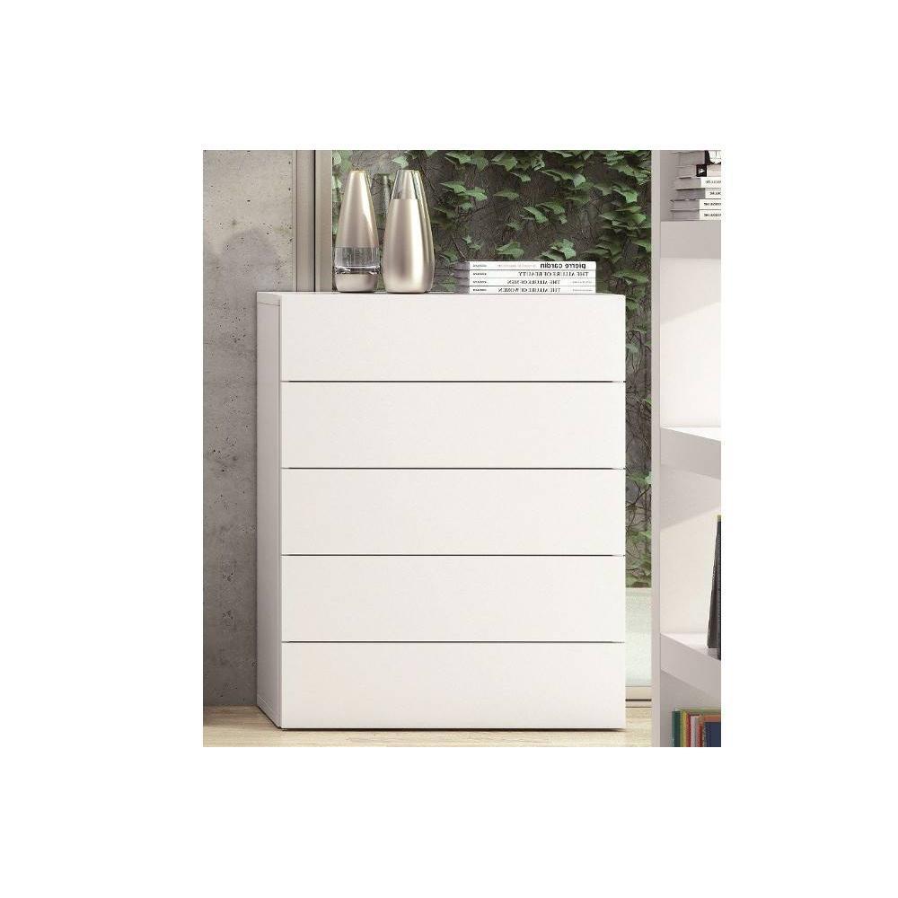 AURORA Commode TemaHome blanche mate 5 tiroirs. La commode AURORA arbore un design contemporain qui apportera une touche de modernité dans une