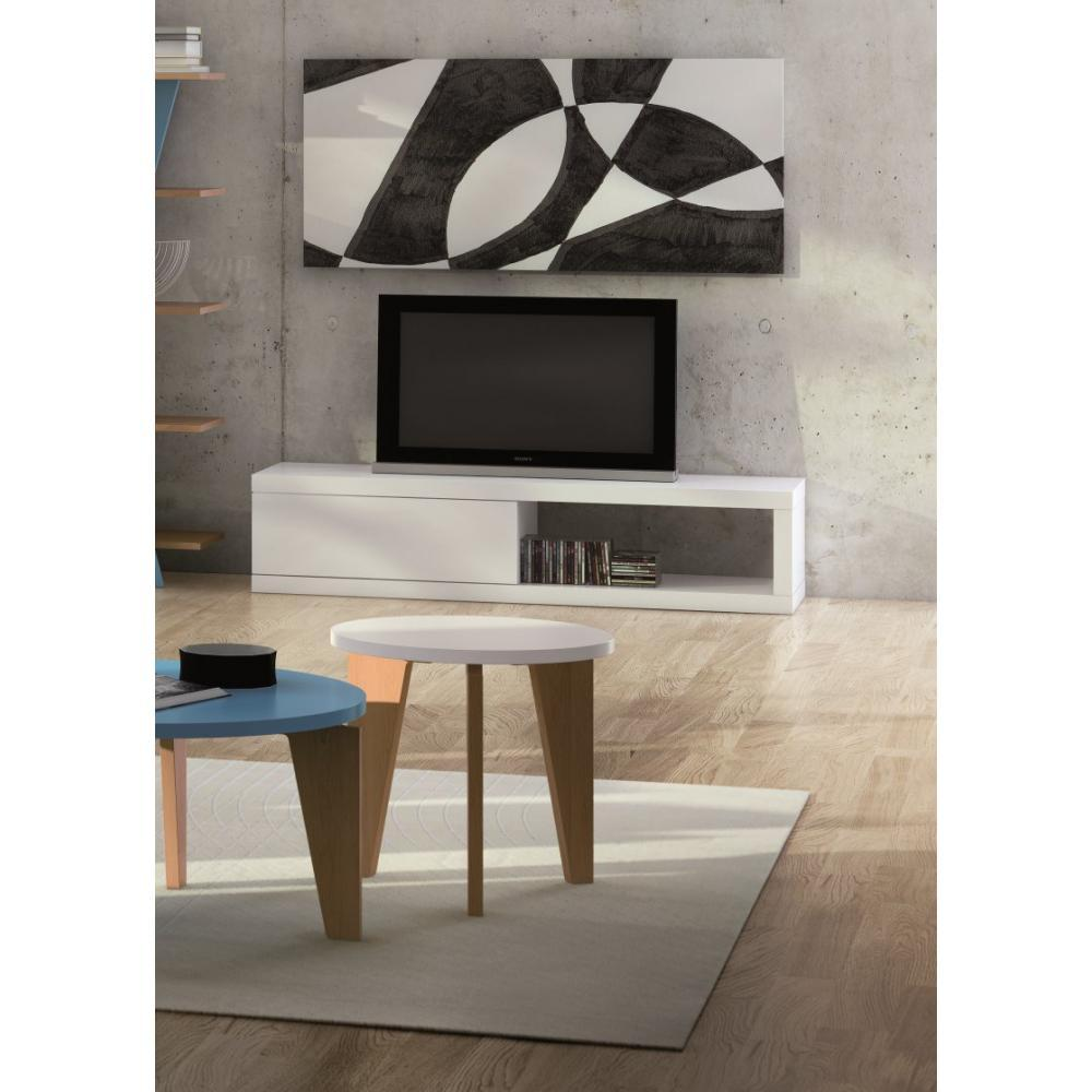 meubles tv meubles et rangements temahome atoll meuble tv blanc mat avec rangements inside75. Black Bedroom Furniture Sets. Home Design Ideas