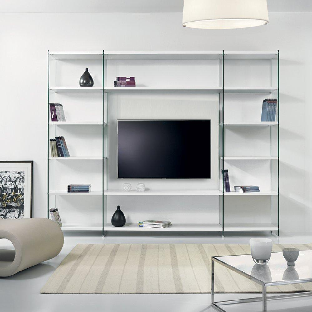 ensemble mural tv meubles et rangements composition murale tv babylone blanc c ruse inside75. Black Bedroom Furniture Sets. Home Design Ideas