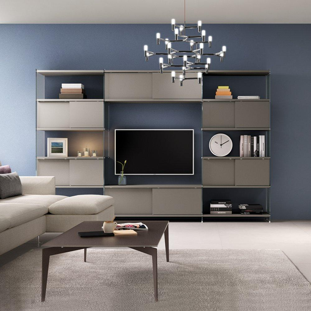 ensemble mural tv meubles et rangements composition murale tv babylone taupe avec portes. Black Bedroom Furniture Sets. Home Design Ideas