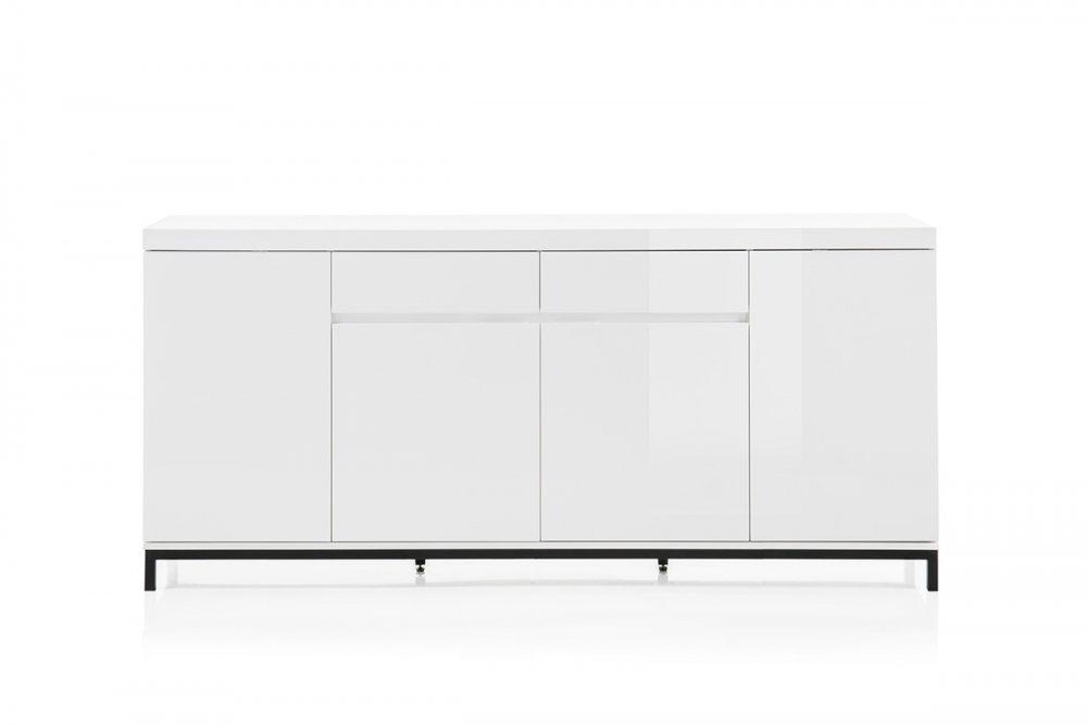 Bahut GRANVILLE blanc laqué brillant 4 portes 2 tiroirs piétement métal noir